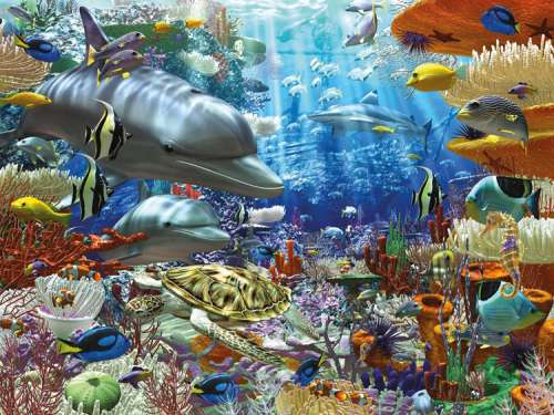 Oceanic Wonders (RB16273-4), a 1500 piece jigsaw puzzle by Ravensburger. Click to view larger image.