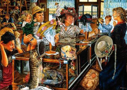 The Millinery Shop (HOL94127), a 1000 piece jigsaw puzzle by Holdson. Click to view larger image.
