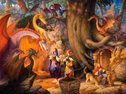 Confabulation of Dragons (SUN13006), a 1000 piece jigsaw puzzle by Sunsout. Click to view larger image.