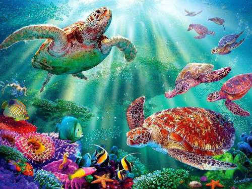 Turtle Voyage (Large Pieces) (SUN70868), a 500 piece jigsaw puzzle by Sunsout. Click to view larger image.