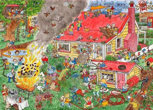 Flamin' Frenzy (Behind the Scene) (HOL094783), a 1000 piece jigsaw puzzle by Holdson. Click to view larger image.