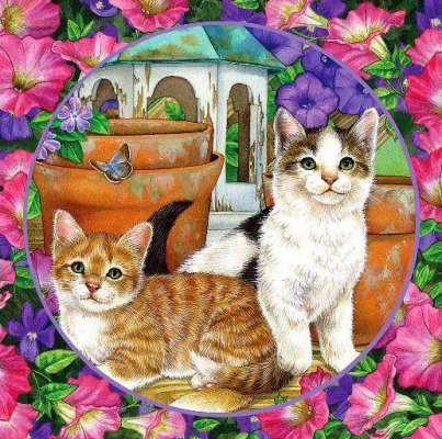 Petunia Playmates (Flower Friends) (HOL94349), a 500 piece jigsaw puzzle by Holdson. Click to view larger image.