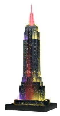 Empire State at Night 3D Puzzle (RB12566-1), a 216 piece jigsaw puzzle by Ravensburger. Click to view larger image.