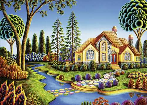 Cottage Dream (Large Pieces) (RB13567-7), a 300 piece jigsaw puzzle by Ravensburger. Click to view larger image.