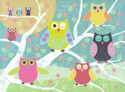 Colourful Night Owl (RB14362-7), a 500 piece jigsaw puzzle by Ravensburger. Click to view larger image.