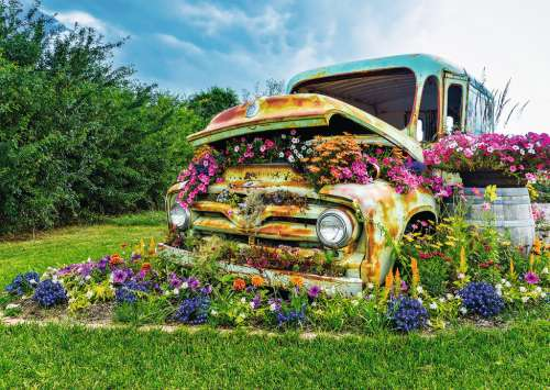 Flower Truck (Large Pieces) (RB14885-1), a 500 piece jigsaw puzzle by Ravensburger. Click to view larger image.