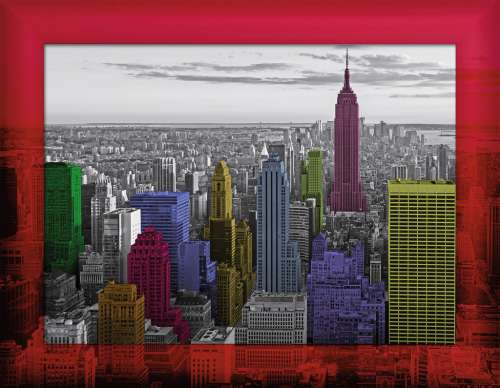 New York Colors (with Frame) (RB14894-3), a 500 piece jigsaw puzzle by Ravensburger. Click to view larger image.