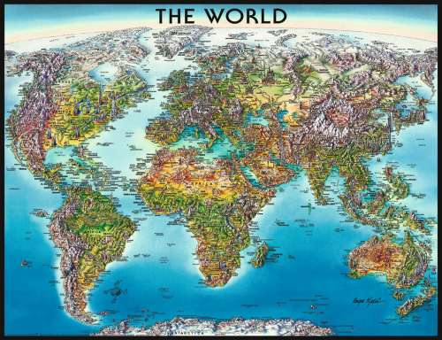 World Map (RB16683-1), a 2000 piece jigsaw puzzle by Ravensburger. Click to view larger image.