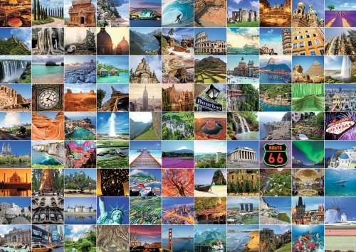 99 Most Beautiful Places (RB19371-4), a 1000 piece jigsaw puzzle by Ravensburger. Click to view larger image.
