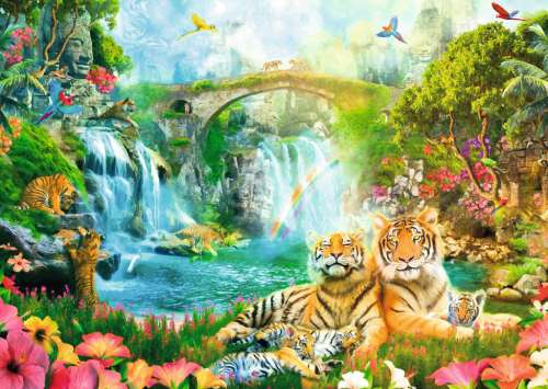 Tiger Grotto (RB19373-8), a 1000 piece jigsaw puzzle by Ravensburger. Click to view larger image.