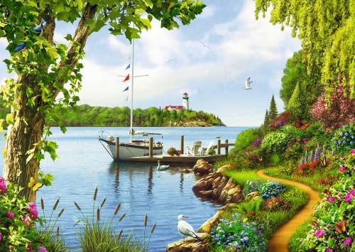 Boat Days (RB19404-9), a 1000 piece jigsaw puzzle by Ravensburger. Click to view larger image.