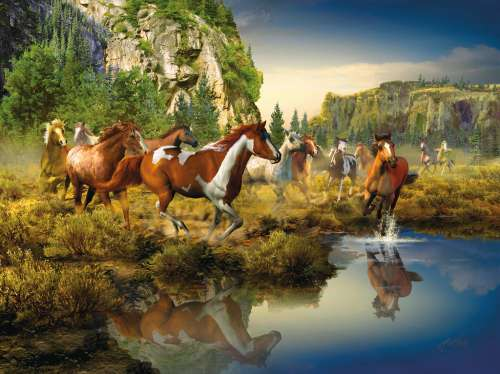 Wild Horses (RB16304-5), a 1500 piece jigsaw puzzle by Ravensburger. Click to view larger image.