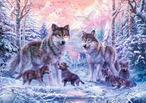 Arctic Wolves (RB19146-8), a 1000 piece jigsaw puzzle by Ravensburger. Click to view larger image.