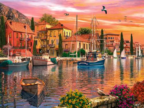 Mediterranean Harbour (RB16280-2), a 1500 piece jigsaw puzzle by Ravensburger. Click to view larger image.