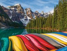 Moraine Lake Canoes, Canada (RB16647-3), a 2000 piece Ravensburger jigsaw puzzle.
