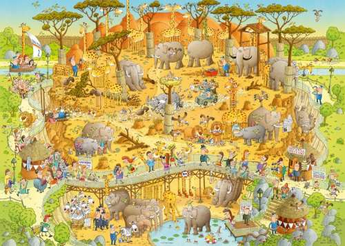 African Habitat (Funky Zoo) (HEY29639), a 1000 piece jigsaw puzzle by HEYE. Click to view larger image.