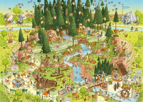 Black Forest Habitat (Funky Zoo) (HEY29638), a 1000 piece jigsaw puzzle by HEYE. Click to view larger image.