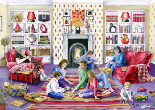 Family Games Night (JUM11023), a 500 piece jigsaw puzzle by Jumbo. Click to view larger image.