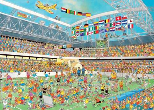 Football Crazy (1000pc) (JUM17459), a 1000 piece jigsaw puzzle by Jumbo. Click to view larger image.
