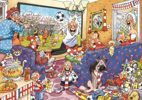 Football Fever 2 x 1000pc (Original Wasgij #21) (HOL95384), a 1000 piece jigsaw puzzle by Holdson. Click to view larger image.