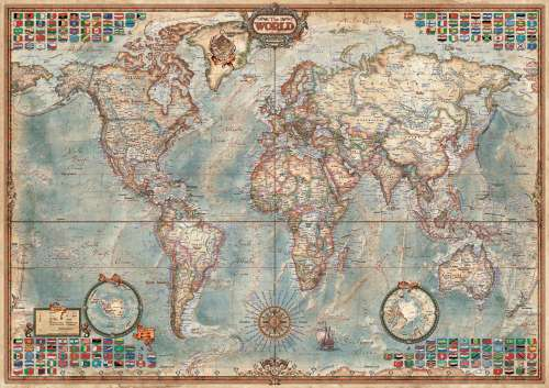 Antique World Map (Modern Borders) (EDU16005), a 1500 piece jigsaw puzzle by Educa. Click to view larger image.