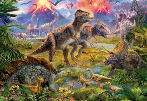 Dinosaur Gathering (EDU15969), a 500 piece jigsaw puzzle by Educa. Click to view larger image.