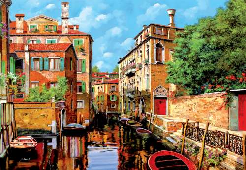 Light in Venice (EDU16016), a 2000 piece jigsaw puzzle by Educa. Click to view larger image.