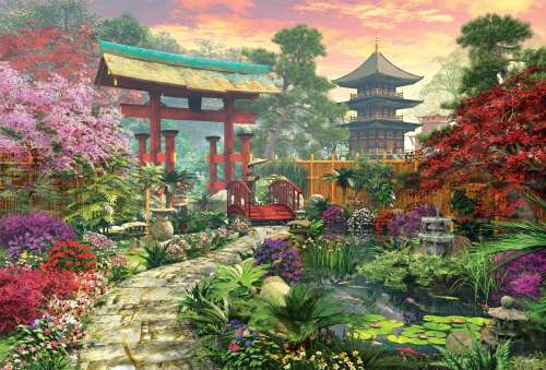 Japanese Garden (EDU16019), a 3000 piece jigsaw puzzle by Educa. Click to view larger image.