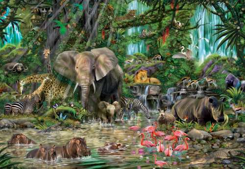 African Jungle (EDU16013), a 2000 piece jigsaw puzzle by Educa. Click to view larger image.