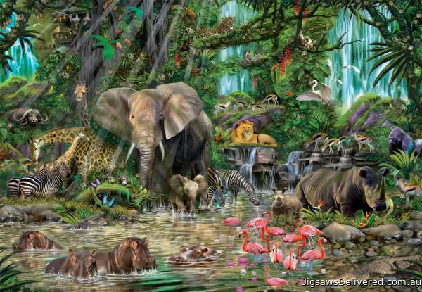 African Jungle (EDU16013), a 2000 piece jigsaw puzzle by Educa.