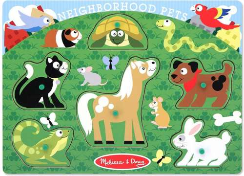 Pets (Peg Puzzle) (MND3387), a 6 piece jigsaw puzzle by Melissa and Doug. Click to view larger image.