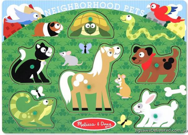 Pets (Peg Puzzle) (MND3387), a 6 piece jigsaw puzzle by Melissa and Doug.