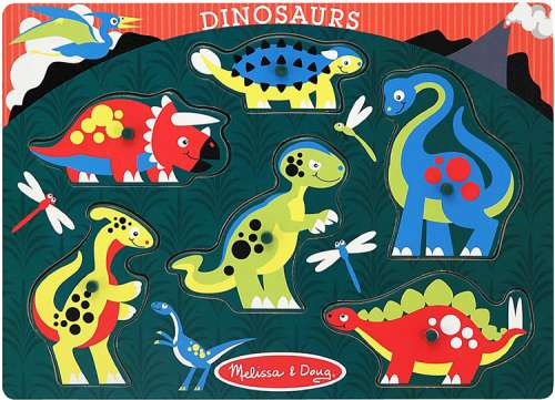 Dinosaurs (Peg Puzzle) (MND3380), a 6 piece jigsaw puzzle by Melissa and Doug. Click to view larger image.