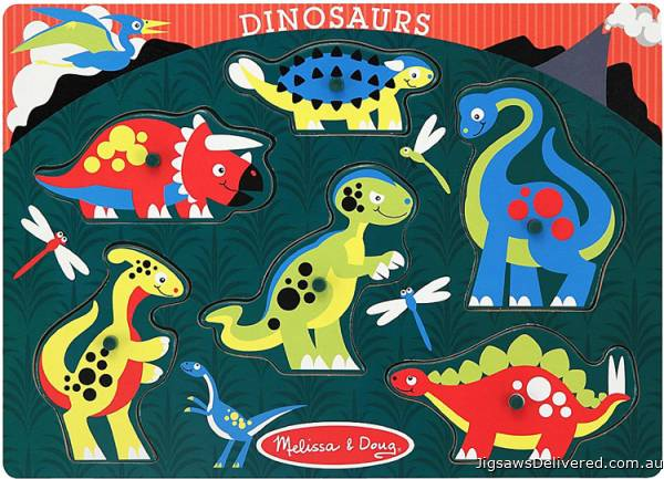 Dinosaurs (Peg Puzzle) (MND3380), a 6 piece jigsaw puzzle by Melissa and Doug.