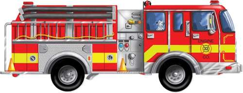 Giant Fire Truck (Floor Puzzle) (MND436), a 24 piece jigsaw puzzle by Melissa and Doug. Click to view larger image.