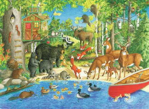 Woodland Friends (RB12740-5), a 200 piece jigsaw puzzle by Ravensburger. Click to view larger image.