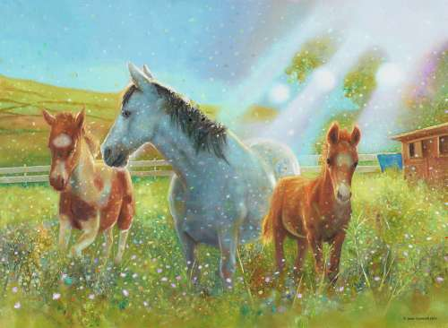 Equine Pasture (RB10531-1), a 100 piece jigsaw puzzle by Ravensburger. Click to view larger image.