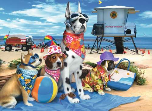 No Dogs on the Beach (RB10526-7), a 100 piece jigsaw puzzle by Ravensburger. Click to view larger image.
