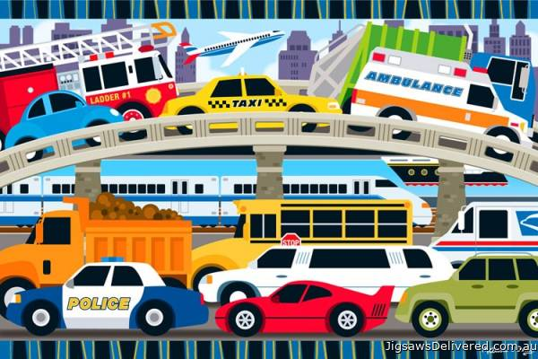 Traffic Jam (Floor Puzzle) (MND4421), a 24 piece jigsaw puzzle by Melissa and Doug.