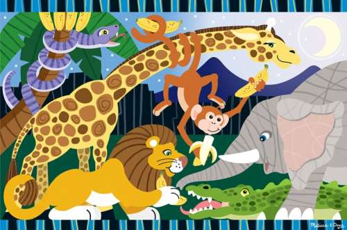Safari Social (Floor Puzzle) (MND4423), a 24 piece jigsaw puzzle by Melissa and Doug. Click to view larger image.
