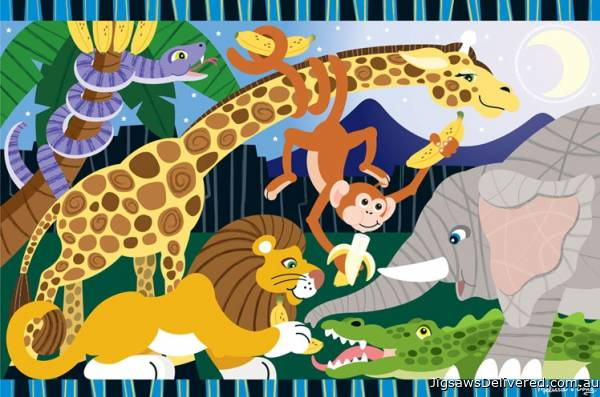 Safari Social (Floor Puzzle) (MND4423), a 24 piece jigsaw puzzle by Melissa and Doug.