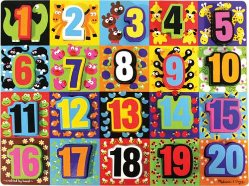 Jumbo Numbers (Chunky Puzzle) (MND3832), a 20 piece jigsaw puzzle by Melissa and Doug. Click to view larger image.