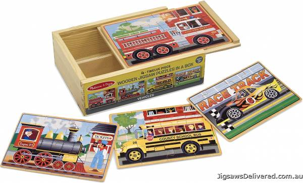 Vehicles Box Set (4 x 12pc Wooden) (MND3794), a 12 piece jigsaw puzzle by Melissa and Doug.