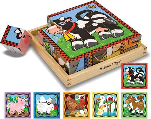 Farm Block Puzzle (MND775), a 16 piece jigsaw puzzle by Melissa and Doug. Click to view larger image.
