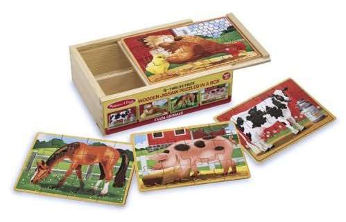 Farm Box Set (4 x 12pc Wooden) (MND3793), a 12 piece jigsaw puzzle by Melissa and Doug. Click to view larger image.