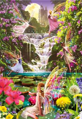 Waterfall Fairies (EDU15515), a 500 piece jigsaw puzzle by Educa. Click to view larger image.