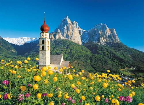 Church of Saint Valentine, Dolomites, Italy (CLE 31997), a 1500 piece jigsaw puzzle by Clementoni. Click to view larger image.