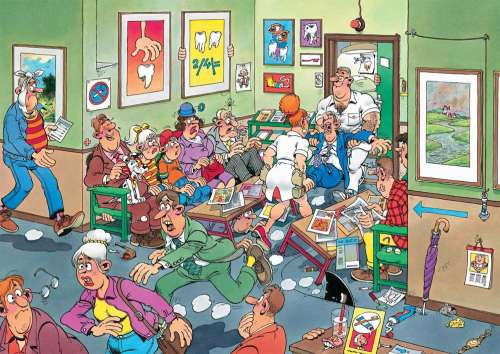 At the Dentist (JUM17456), a 150 piece jigsaw puzzle by Jumbo. Click to view larger image.