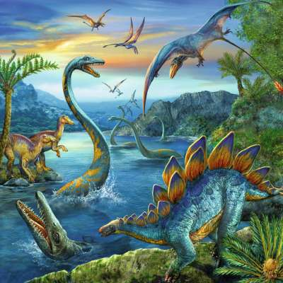 Dinosaur Fascination (3 x 49pc) (RB09317-5), a 49 piece jigsaw puzzle by Ravensburger. Click to view larger image.