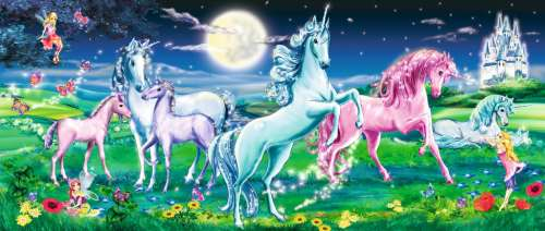 Magical Unicorns (Panorama) (RB12780-1), a 200 piece jigsaw puzzle by Ravensburger. Click to view larger image.